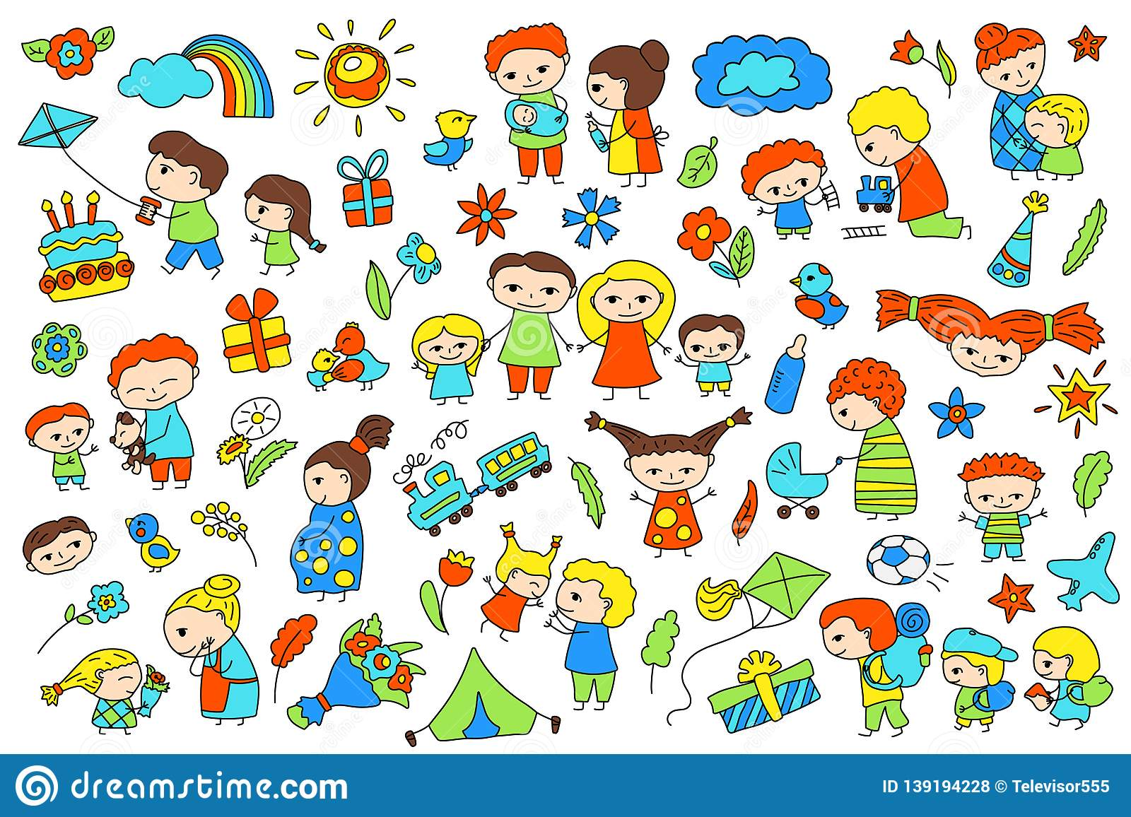 hight resolution of traditional family with parents and children child birthday baby shower vector clipart parenthood and