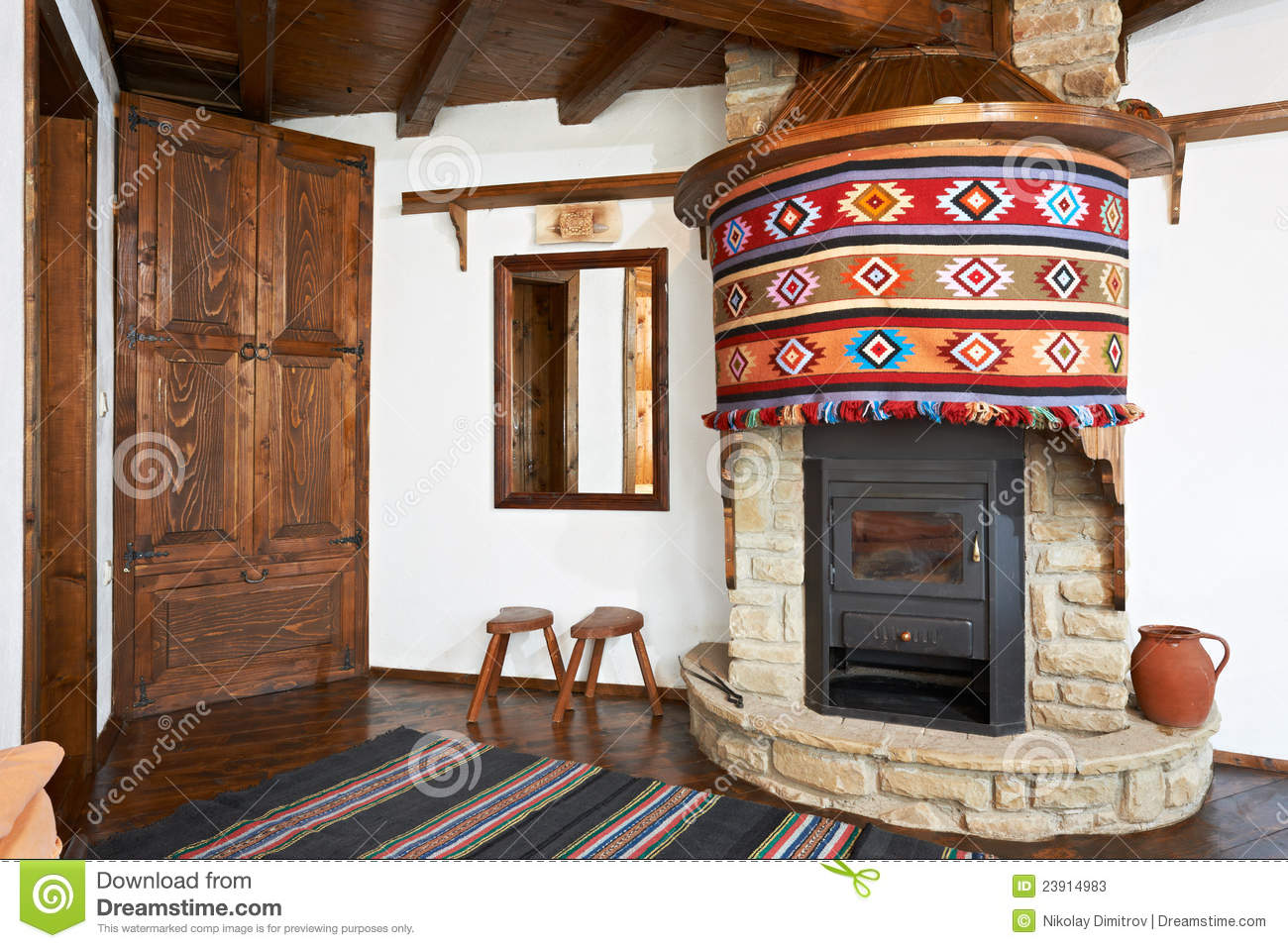 Traditional Interior Of Bulgarian House Stock Image