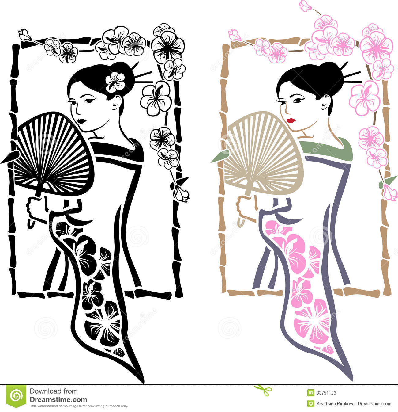 Traditional Japanese Geisha With Fan Stock Photos  Image