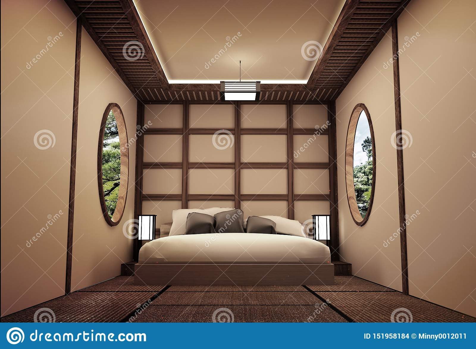 Traditional Japanese Style Bedroom Interior Design 3d Rendering Stock Illustration Illustration Of Home Japan 151958184