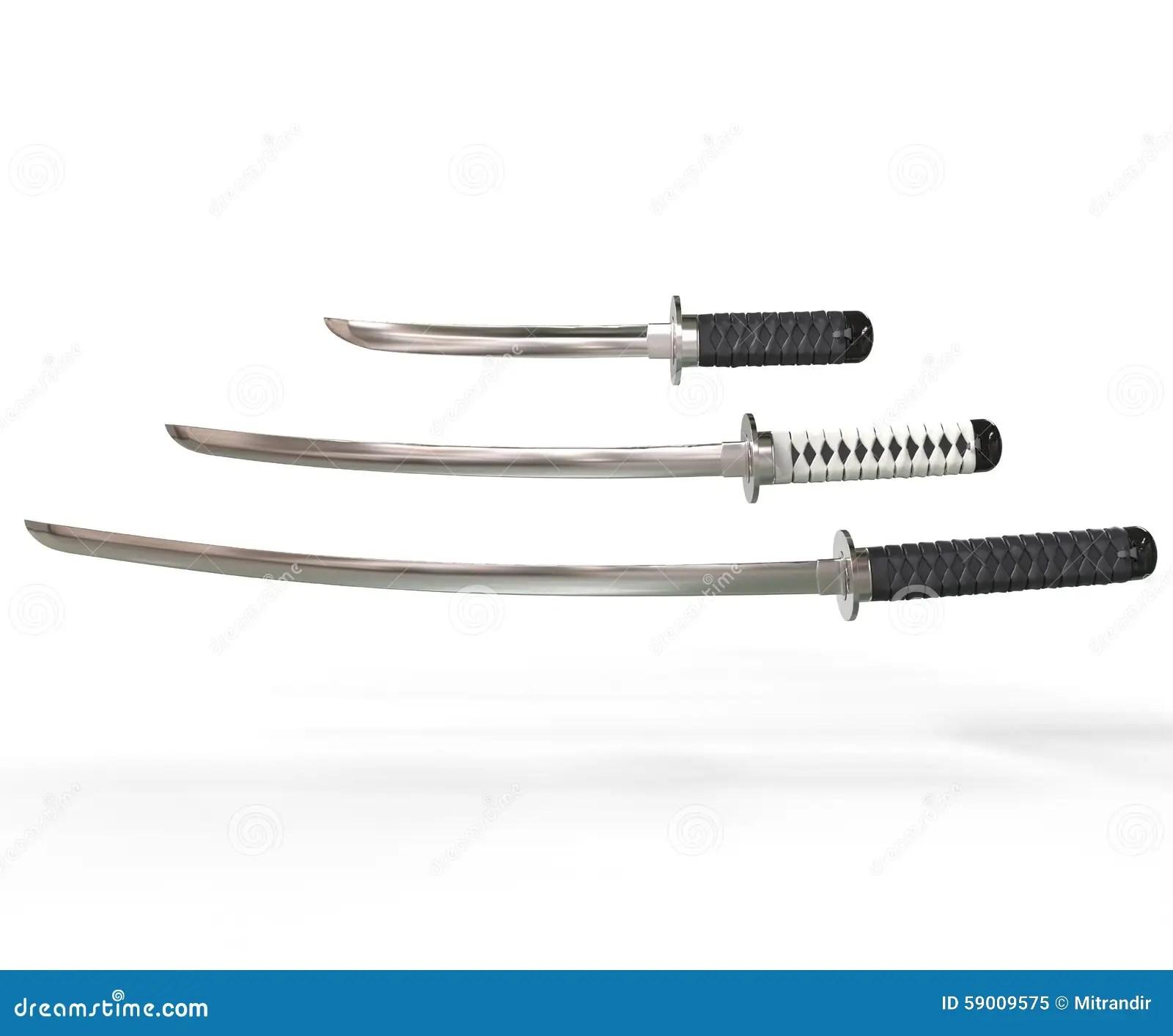 Japanese Swords Icon Cartoon Vector Illustration On White