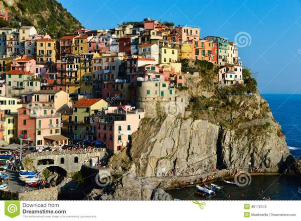 Traditional Mediterranean Architecture Of Manarola Italy