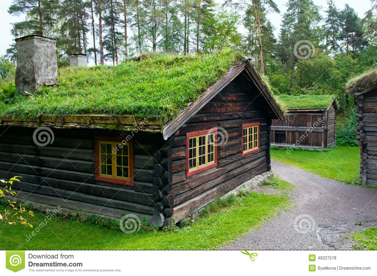 Traditional Norwegian House With Grass RoofThe Norwegian