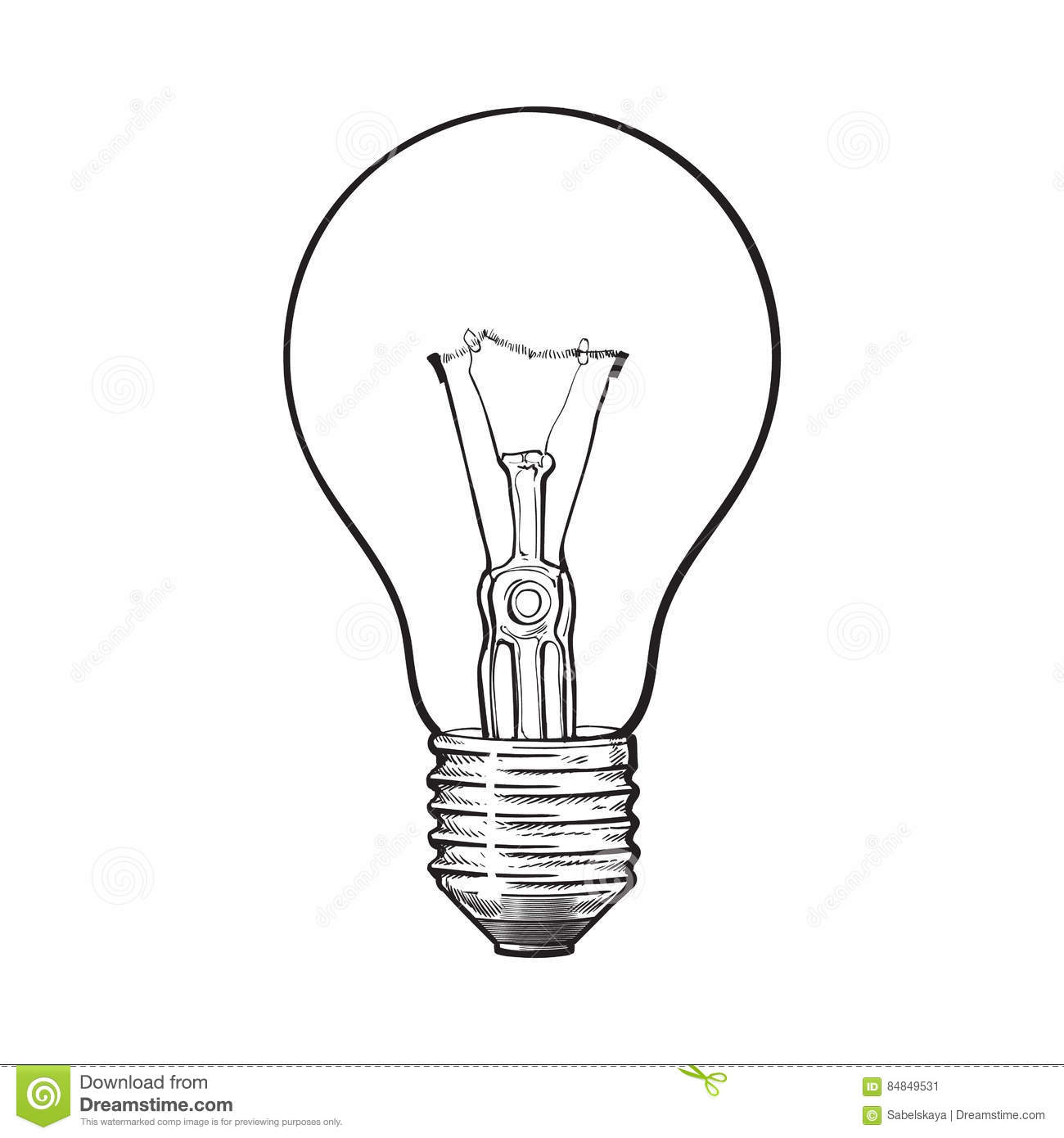 Traditional Transparent Tungsten Light Bulb, Side View