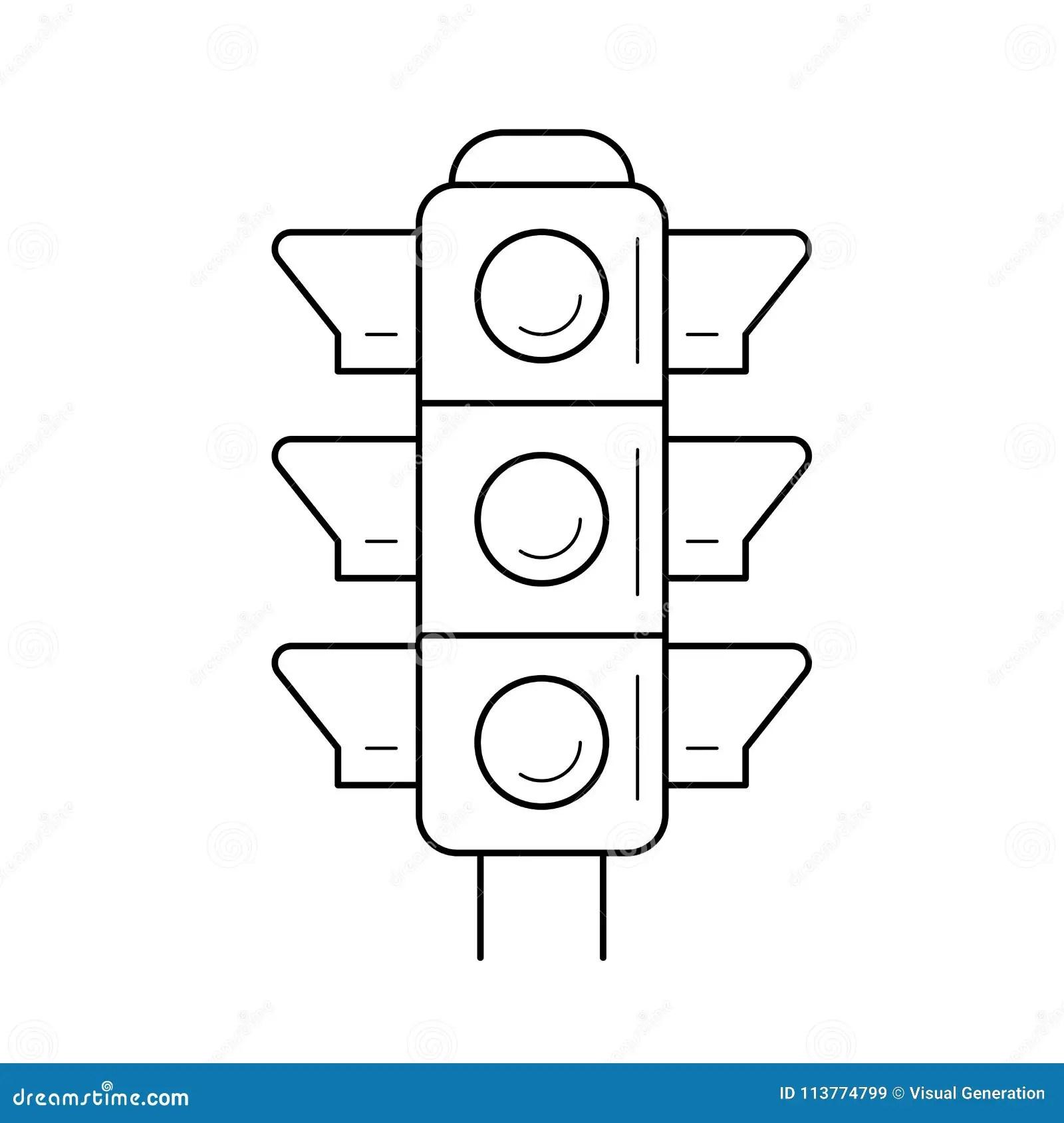 Traffic light line icon. stock vector. Illustration of