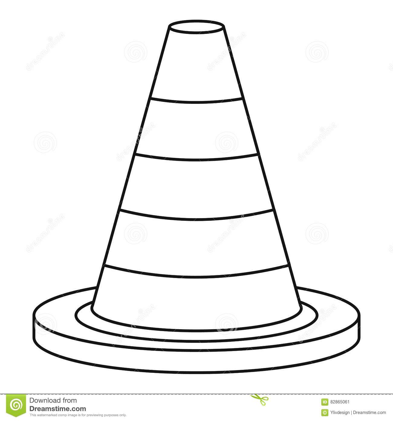 Traffic Safety Cone Icon, Outline Style Stock Vector