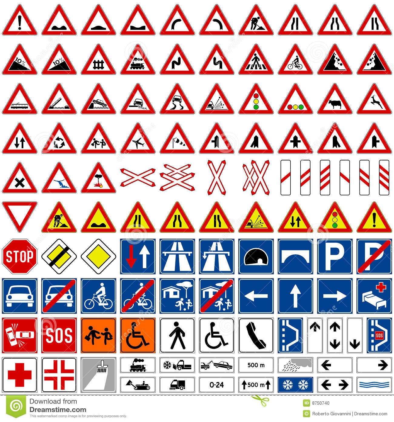 European Traffic Signs Collection Vector Illustration