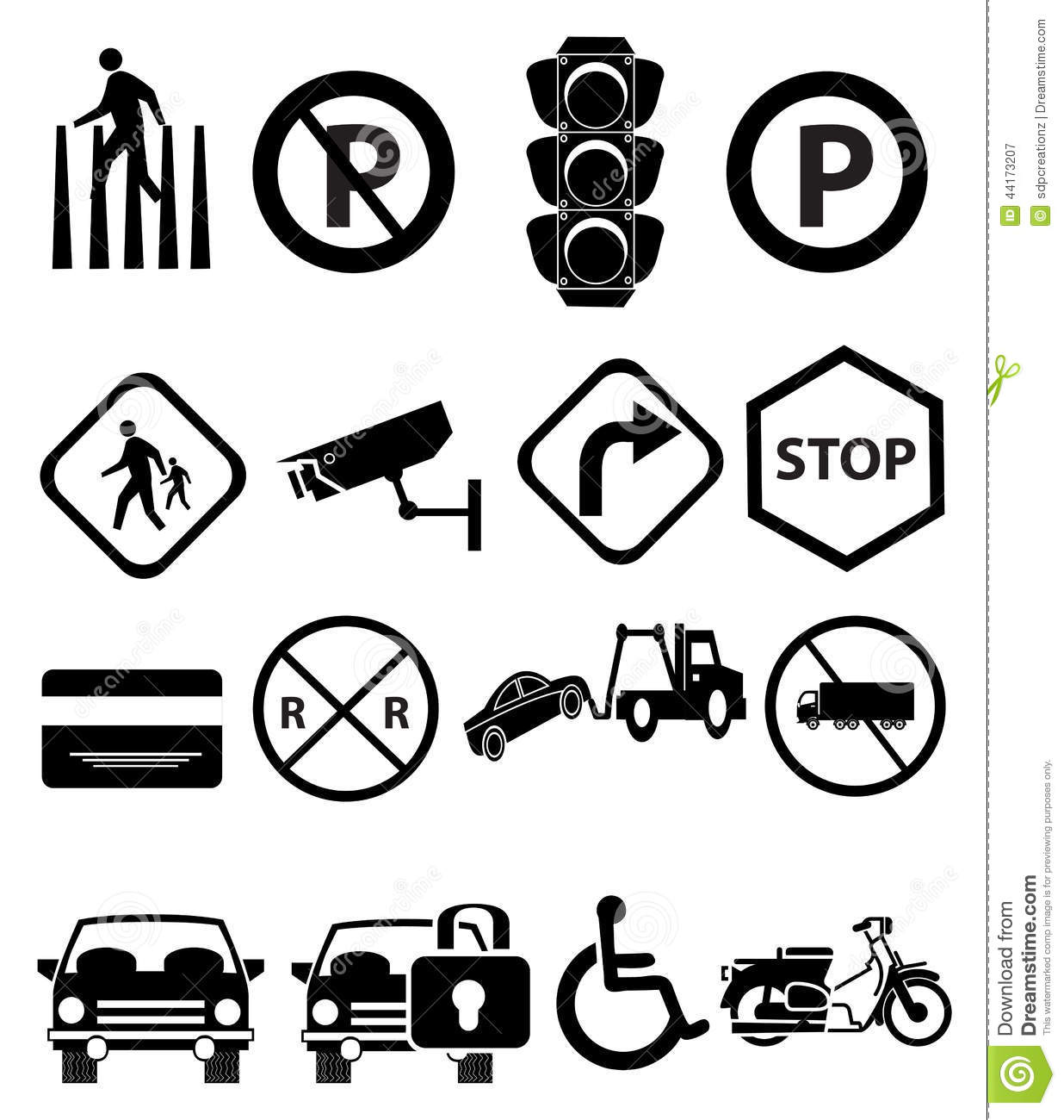 Traffic Signs Icons Set Stock Vector Image Of Drawing