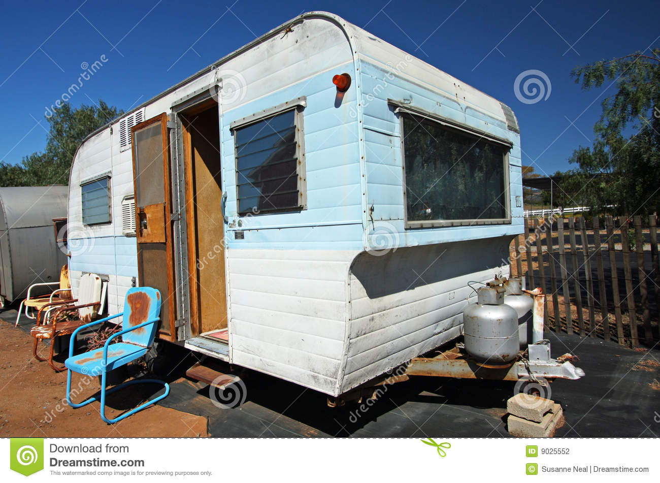 Trailer Home With Windows And Propane Stock Photo  Image