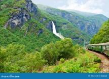 Train Scandinavian Mountains Stock