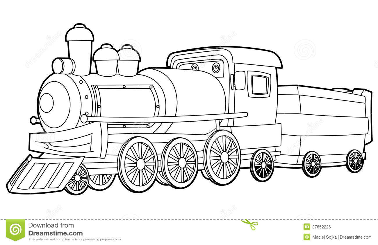 Train Coloring Page For The Children Stock Illustration Illustration Of Locomotive Steam 37652226