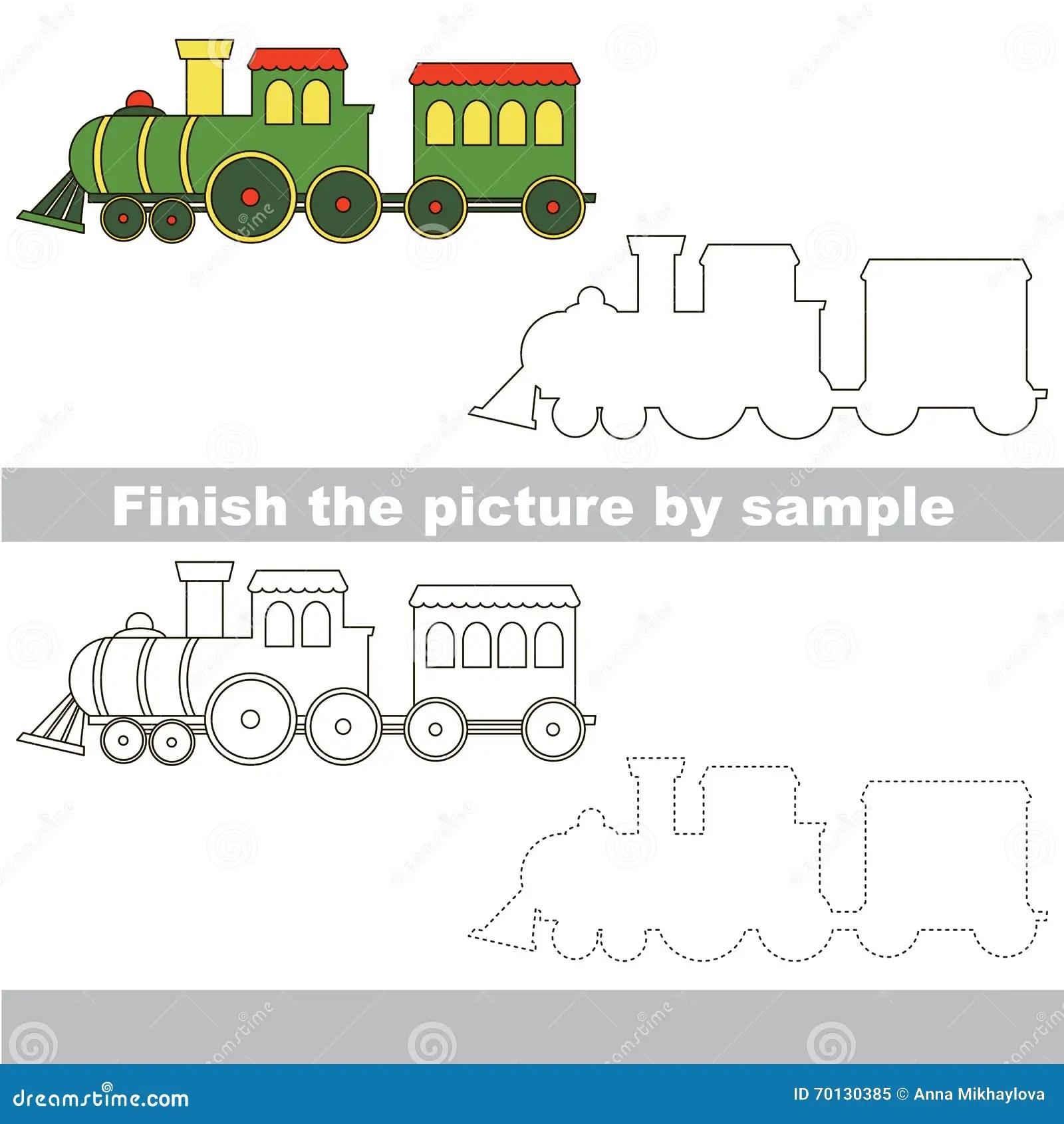 Train Drawing Worksheet Stock Illustration Illustration