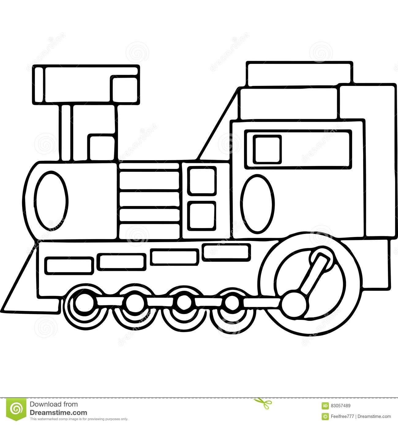 Train Kids Coloring Pages Geometrical Figures Stock