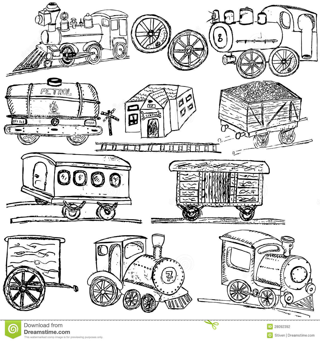 Train Sketch Elements Stock Photography