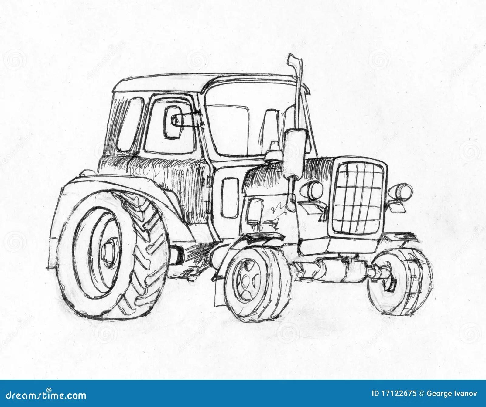 Traktor Reihe Fahrzeuge Stock Abbildung Illustration