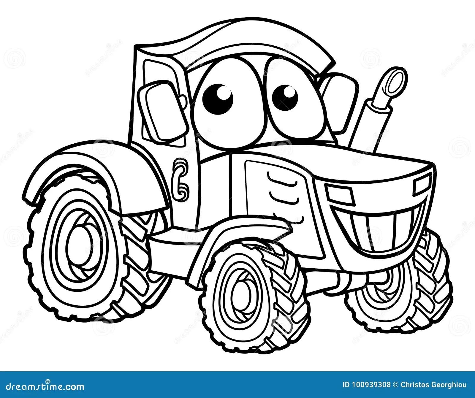 Traktor Zeichentrickfilm Figur Vektor Abbildung