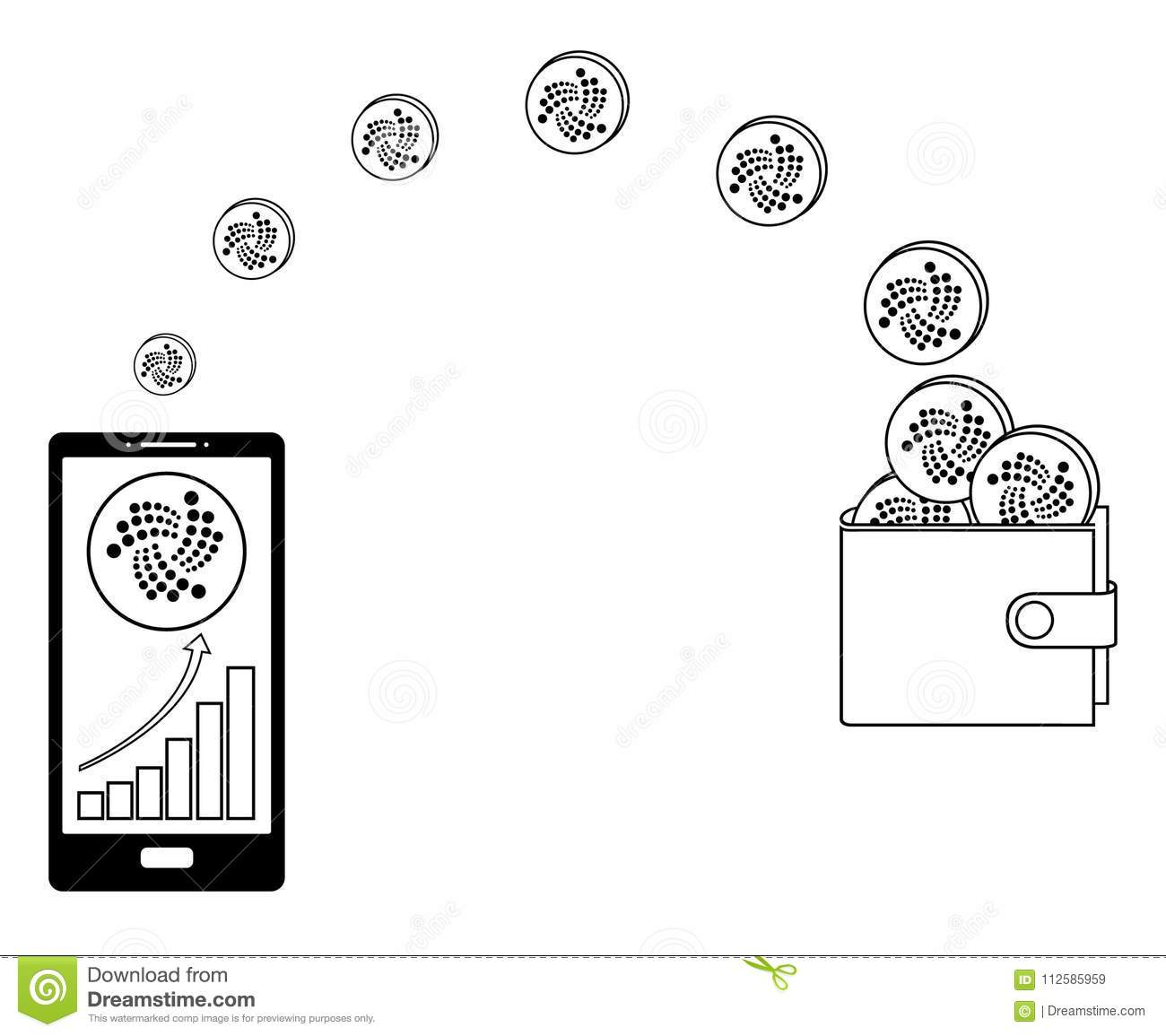 Transfer Iota Coins From Phone To Wallet Stock Vector