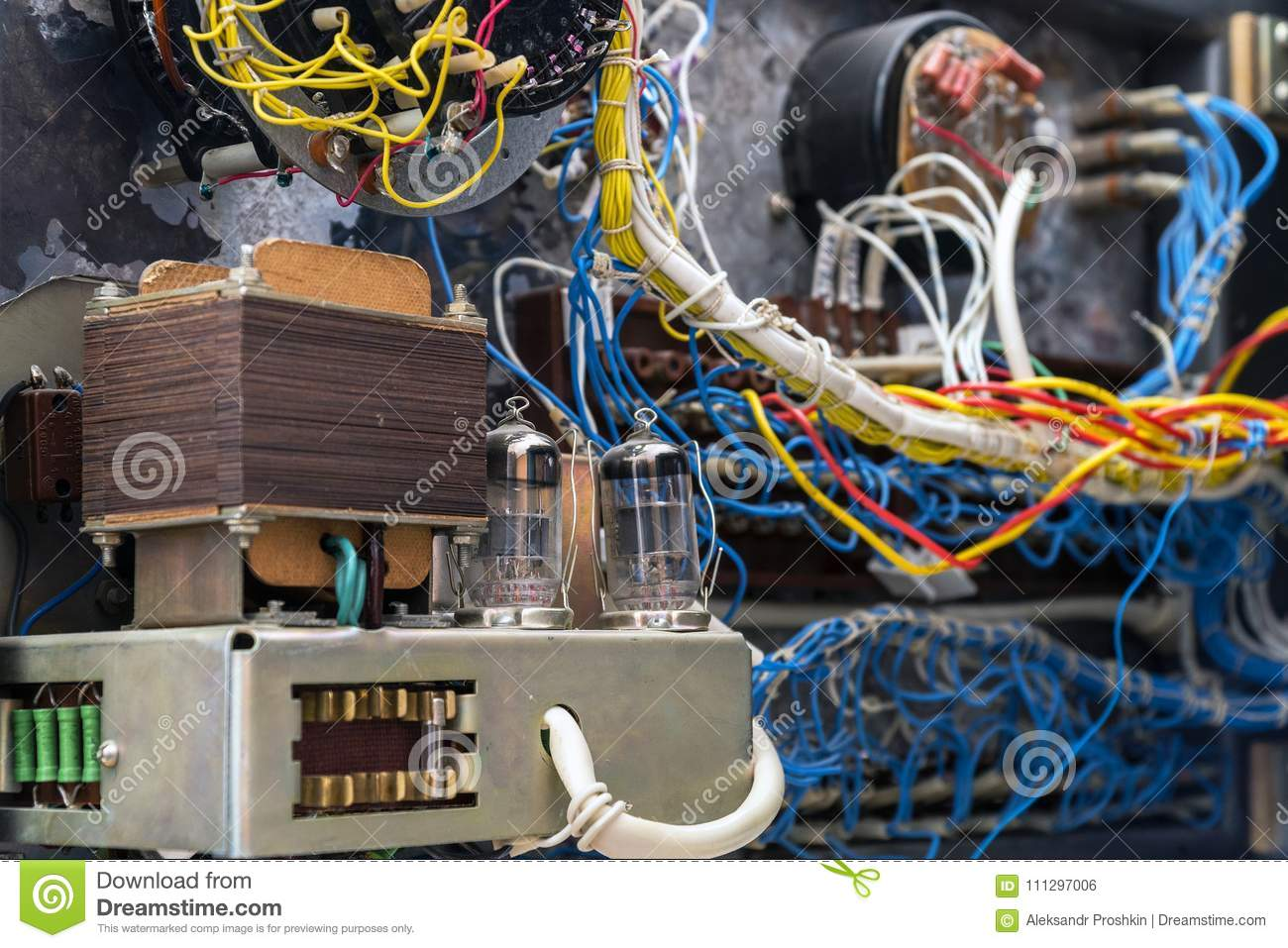 hight resolution of transformer radio tubes and wires