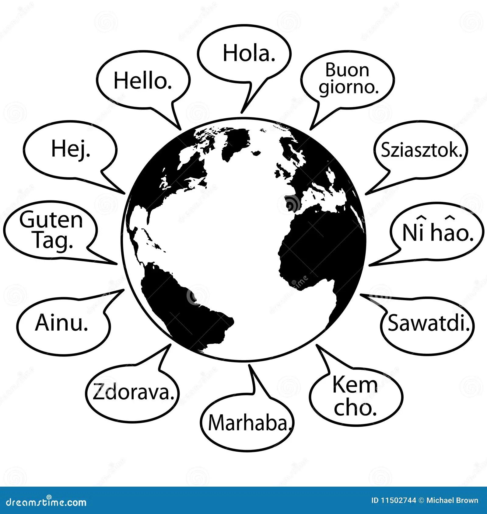Translate Earth Languages Say Hello World Stock