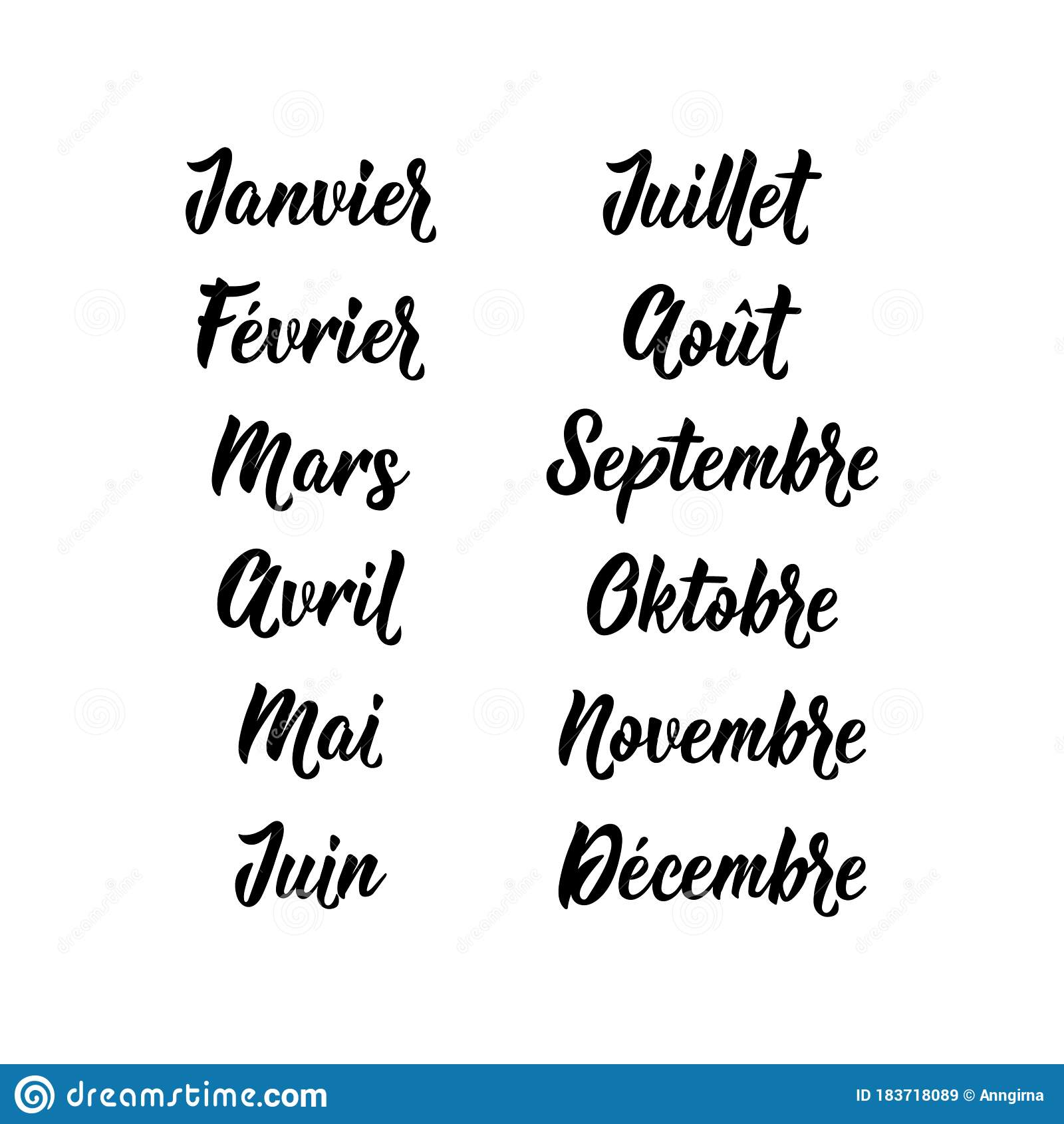 Translation From French - January. February. March. April. May. June. July. August. September October November December. Vector Il Stock ...