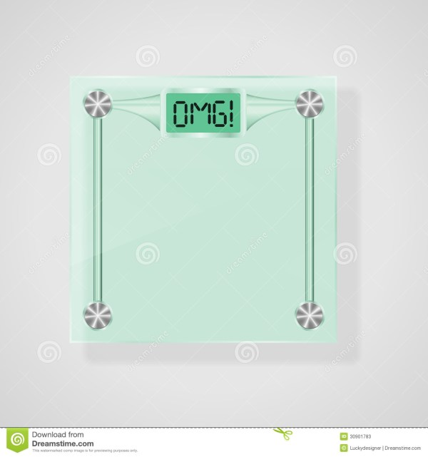 Transparent Glass Scales With OMG! Text Weight Loss