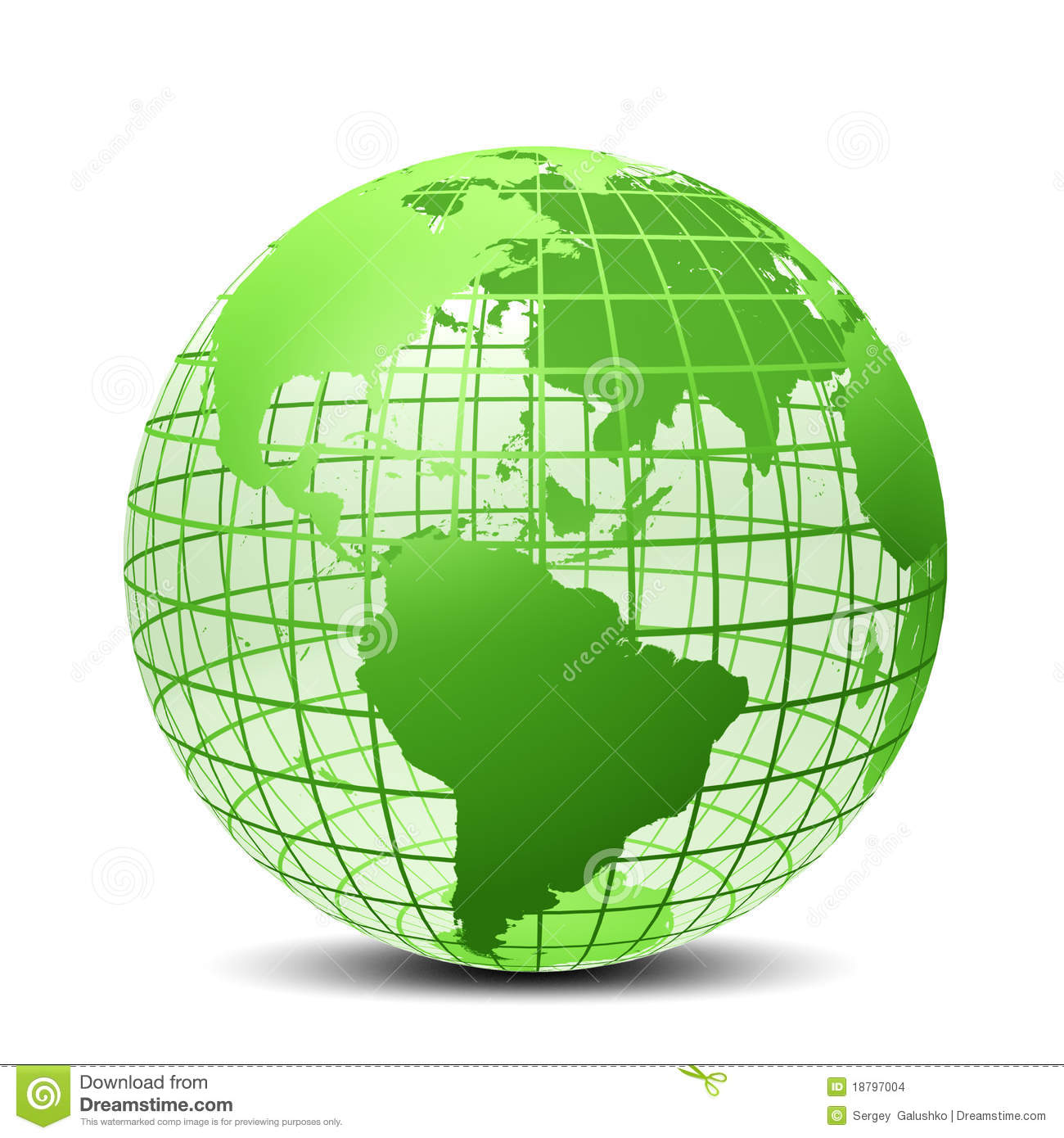 Transparent The Globe Green Color Stock Illustration
