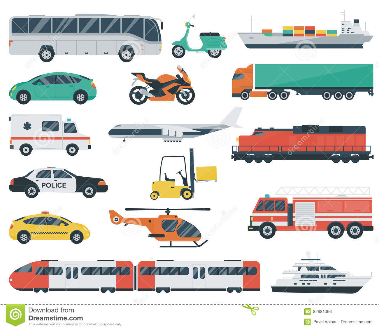 Transportation Icons Set City Cars And Vehicles Transport