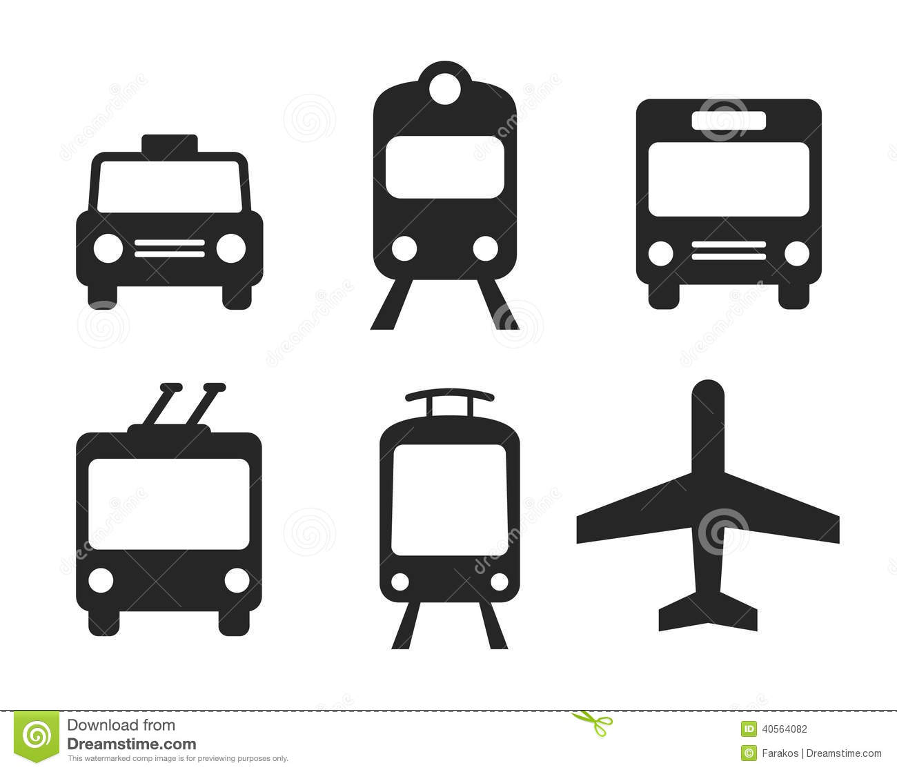 Transportation Icons Set Stock Vector