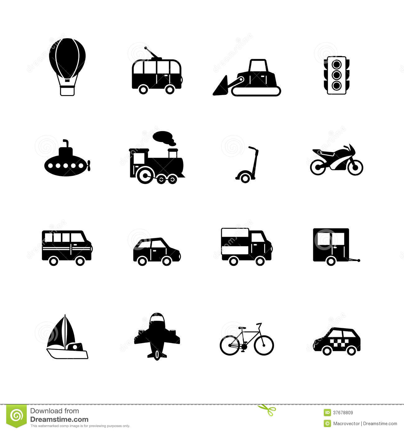 Transportation Pictograms Collection Royalty Free Stock