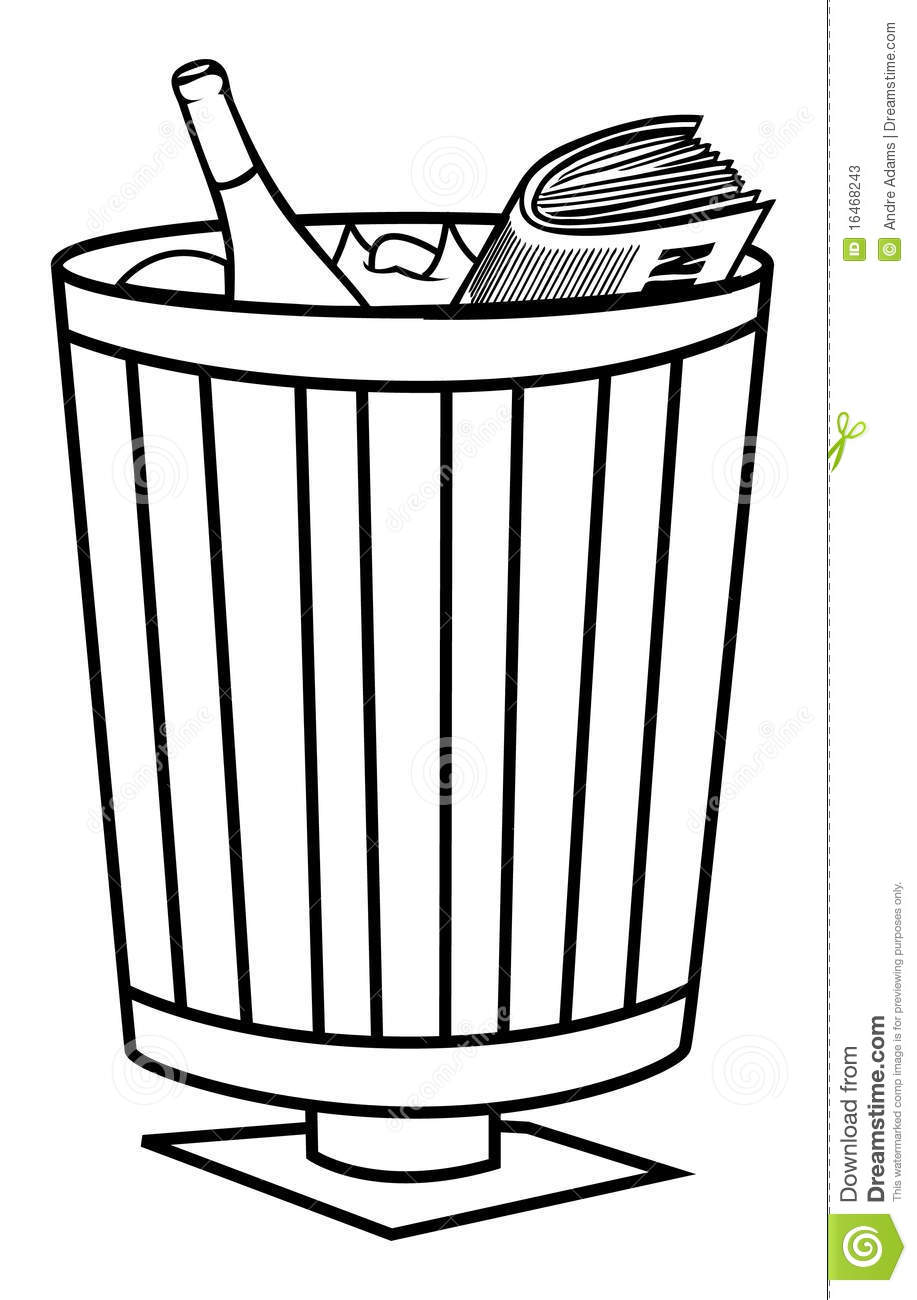 Trash bin stock illustration. Image of paper, vector