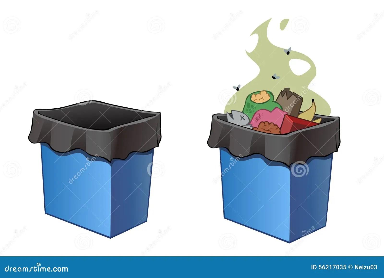 Trash Bins Full And Empty Stock Illustration
