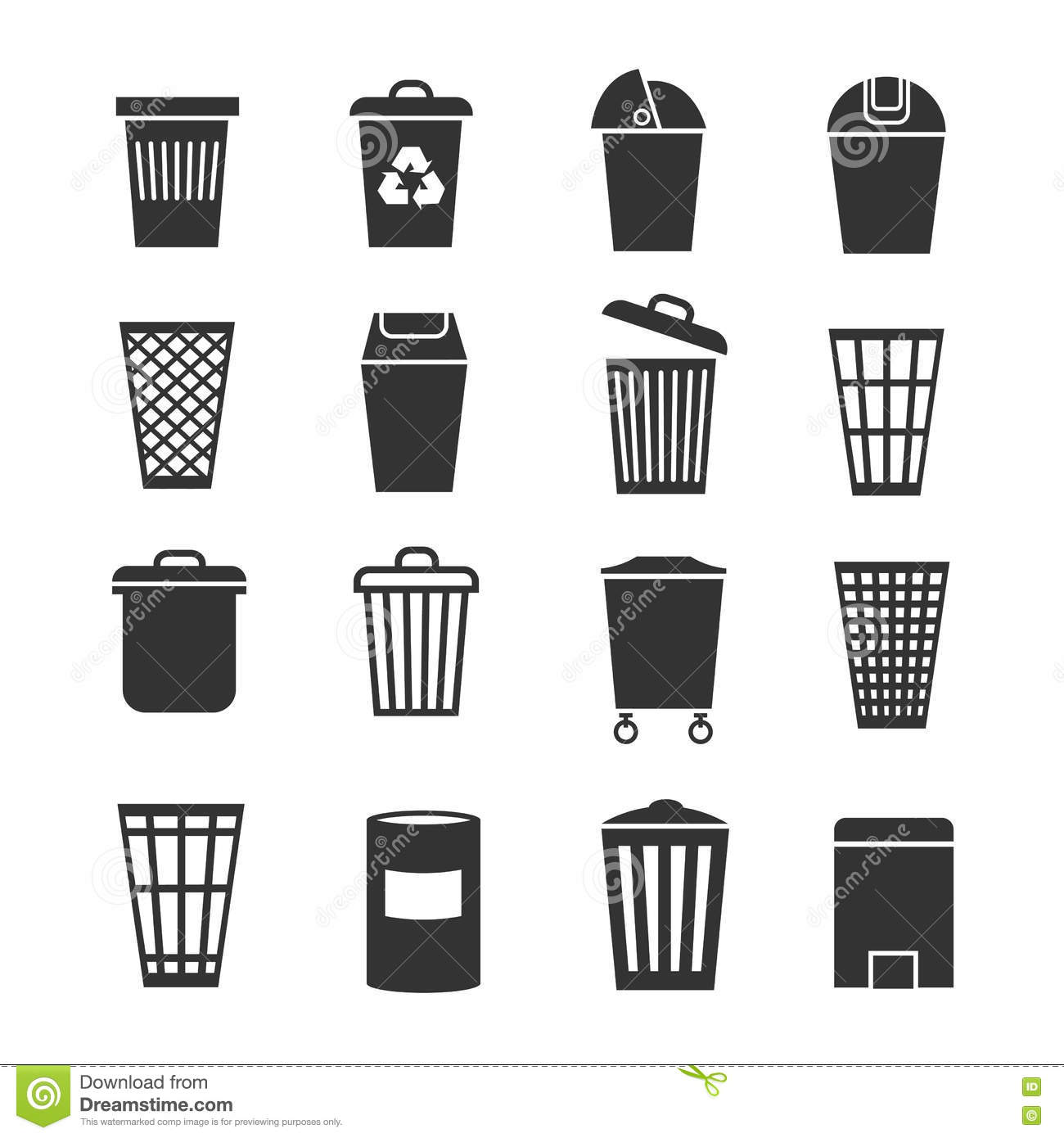 Trash Can Waste Basket And Bin Garbage Vector Icons