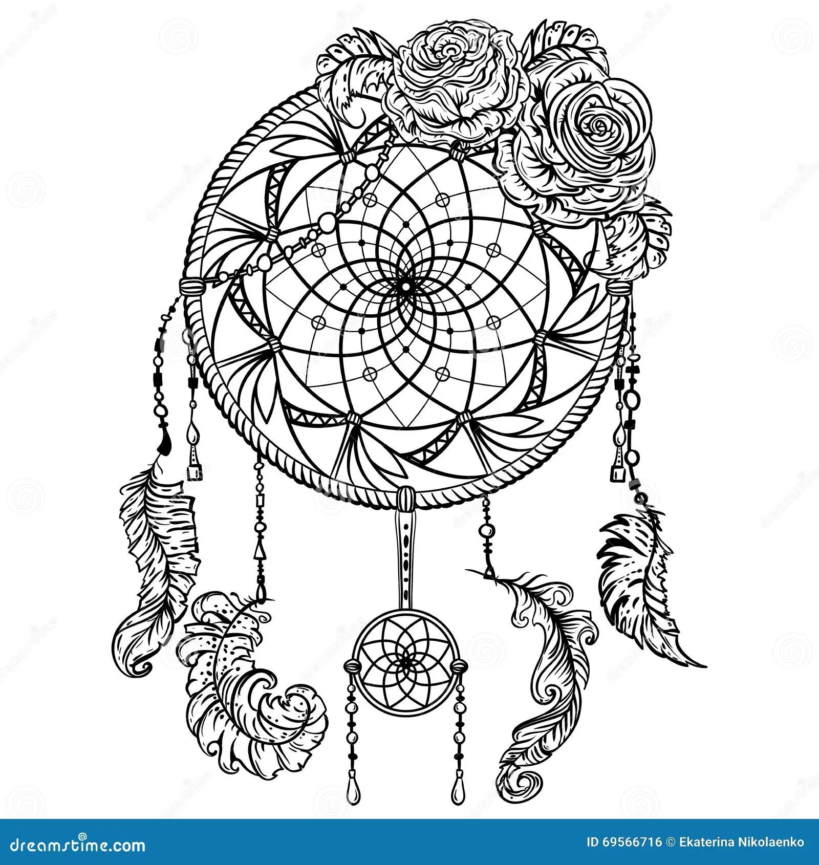 Traumfänger Mit Verzierung Und Rosen Tätowierung Art