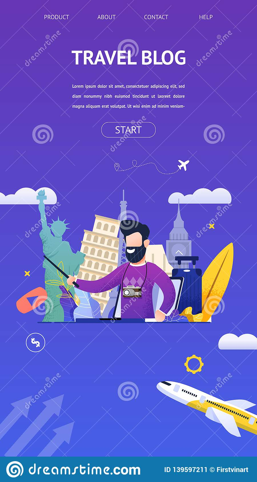 Banner Study Tour : banner, study, Travel, Interesting, Sights, Country, Stock, Vector, Illustration, Flight,, Interactive:, 139597211