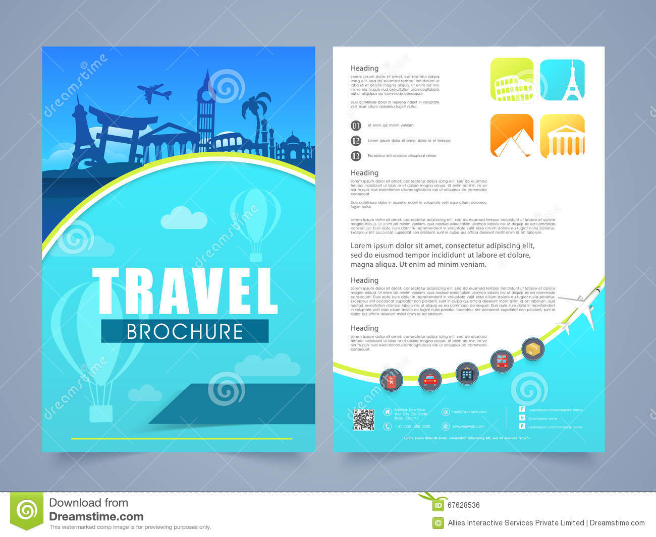 Travel Brochure Template Or Flyer Design Stock
