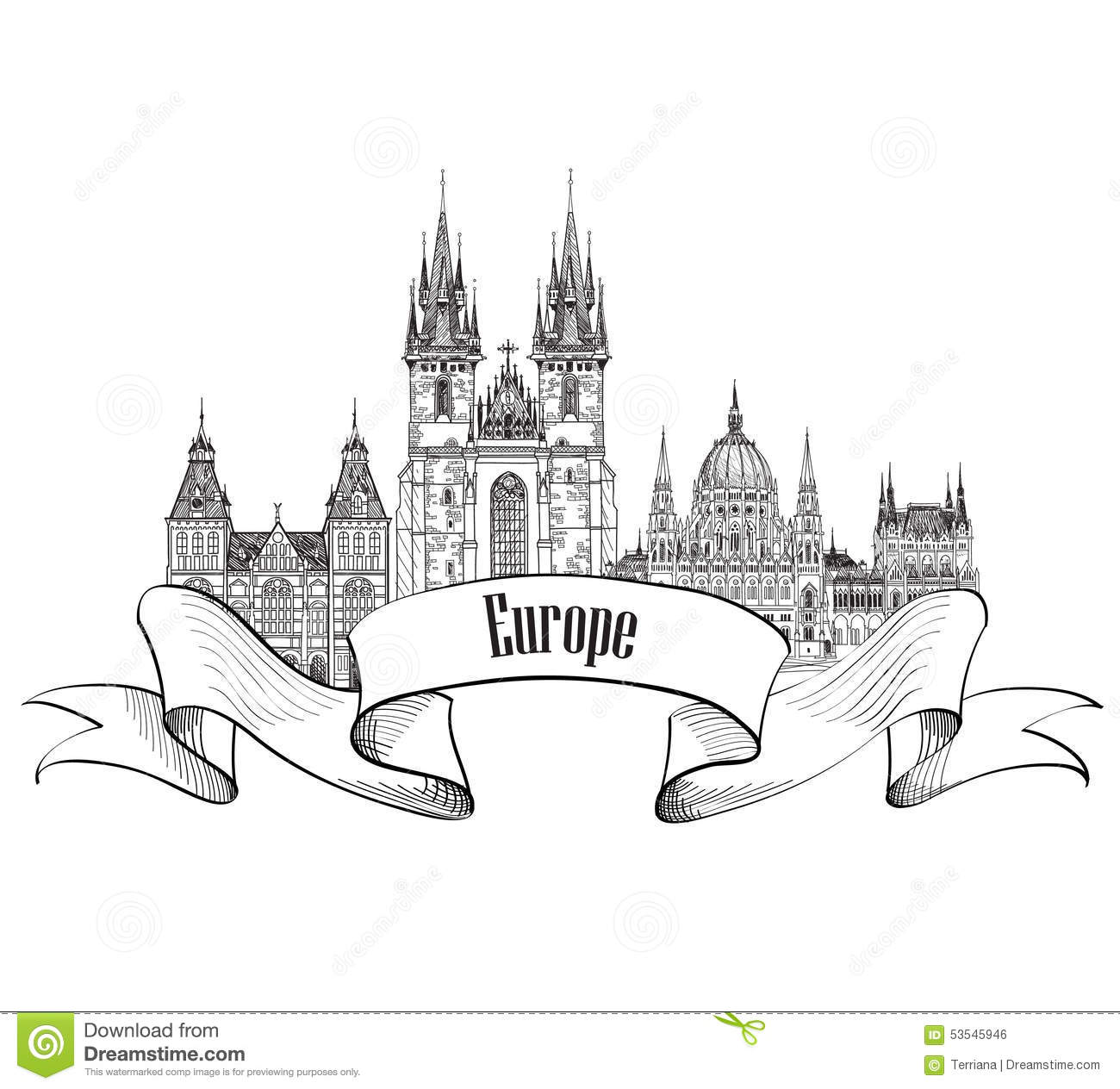 Travel Europe Label Famous Buildings And Landmarks