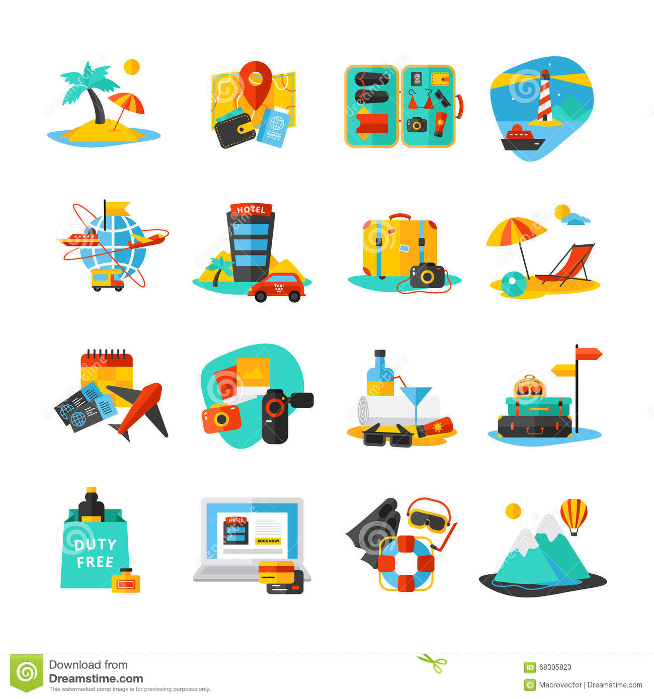 Travel Icon Set Stock Vector Illustration Of Object