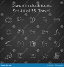 Travel Icon Set Drawn In Chalk Stock Vector - Illustration