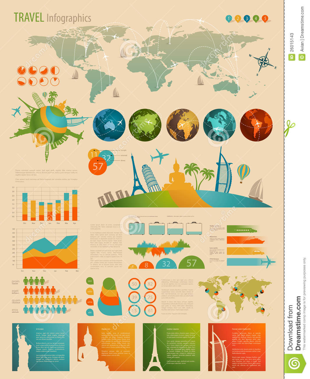 Travel Infographic Set With Charts Stock Vector Image