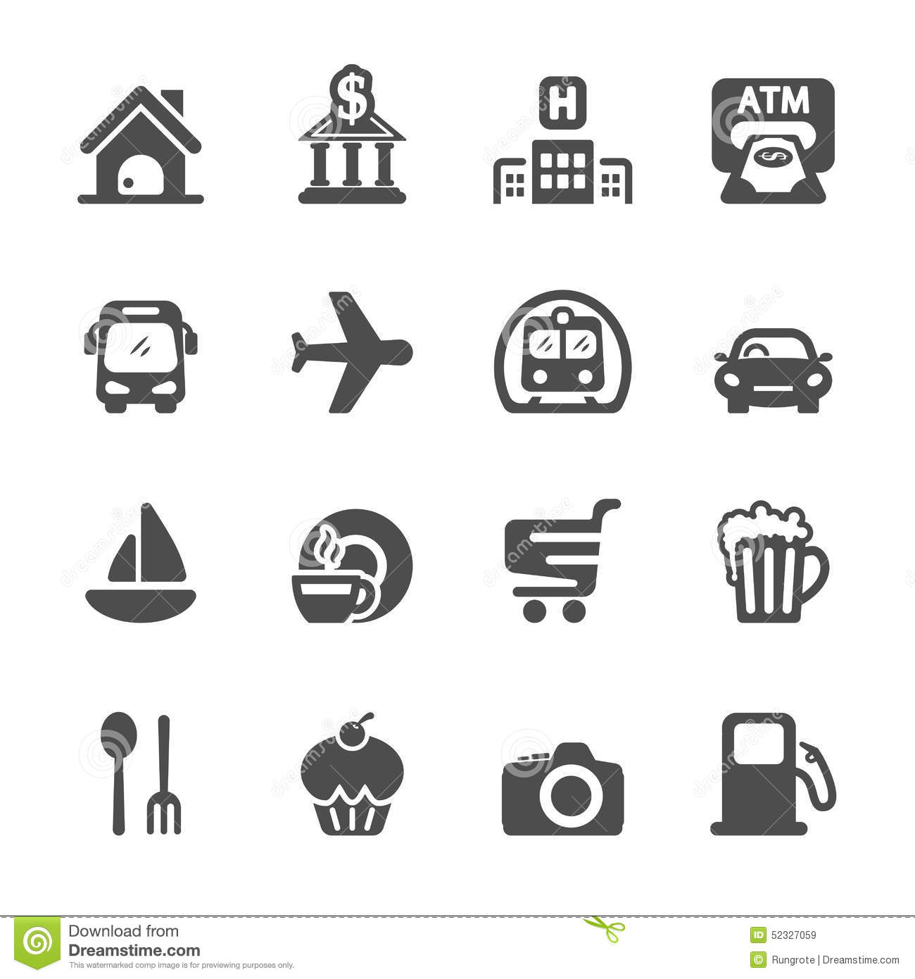 Travel Map Location Icon Set Vector Eps10 Stock Vector