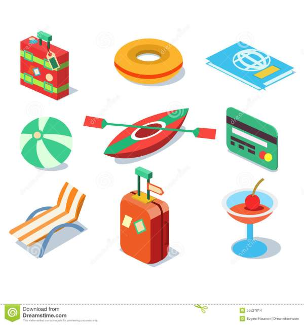 Travel Objects Icon Set Flat 3d Isomectric Modern Stock