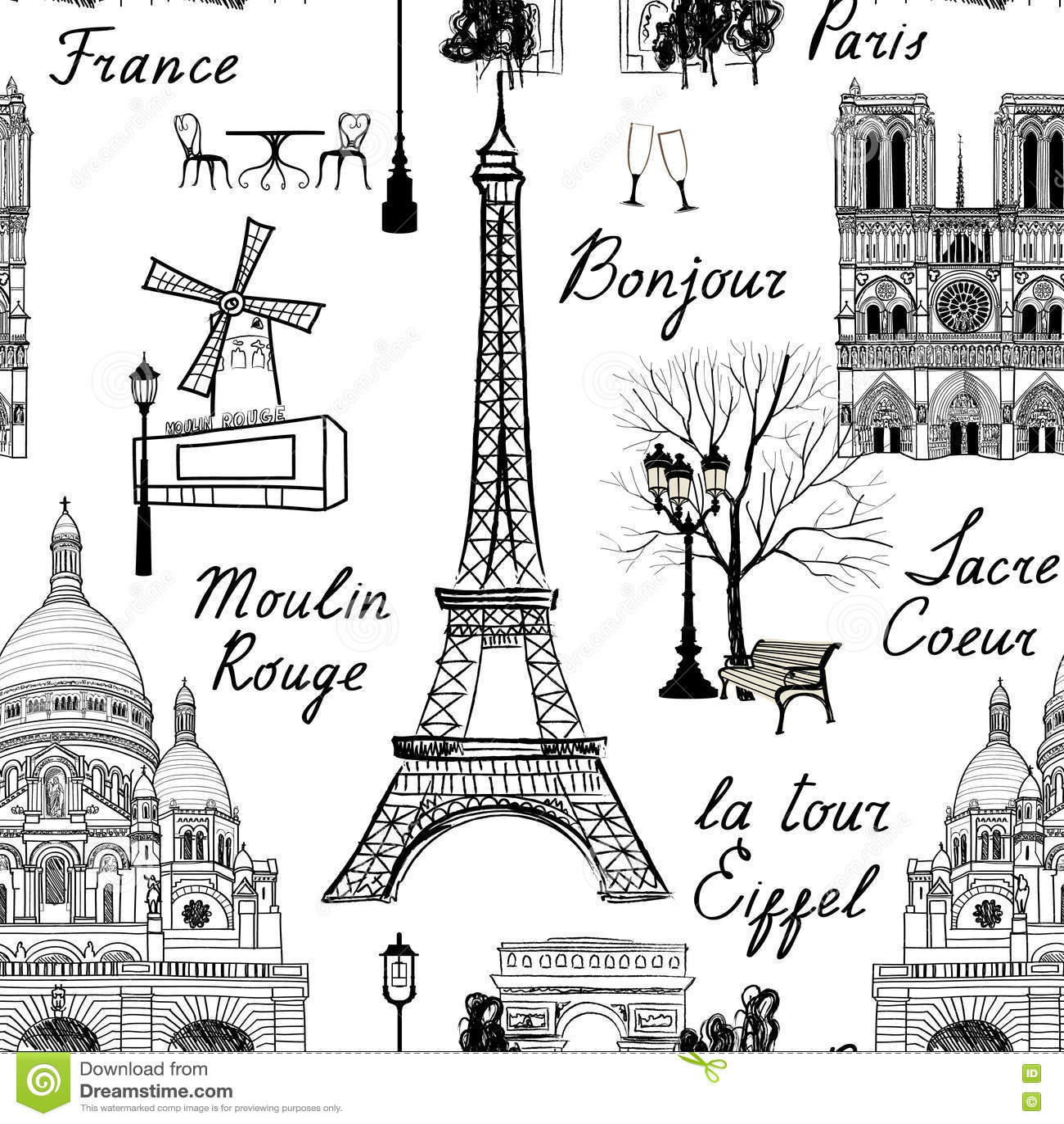 Travel Paris Seamless Pattern Vacation In Europe