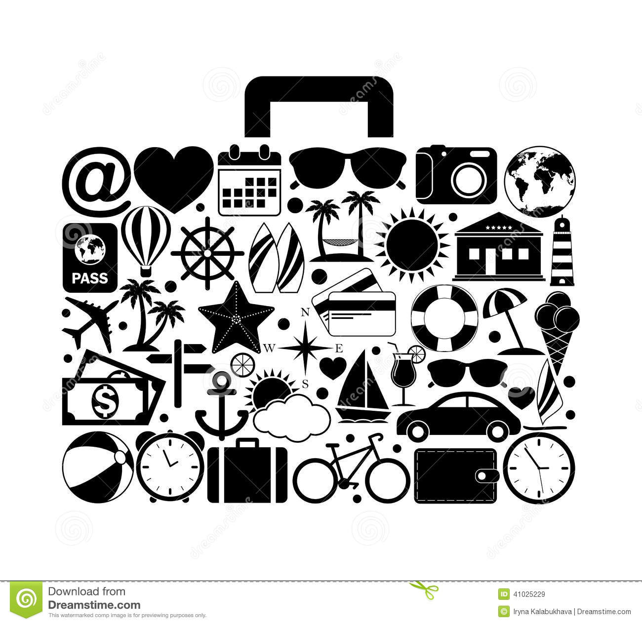 Travel Suitcase With Travel Icons Stock Vector