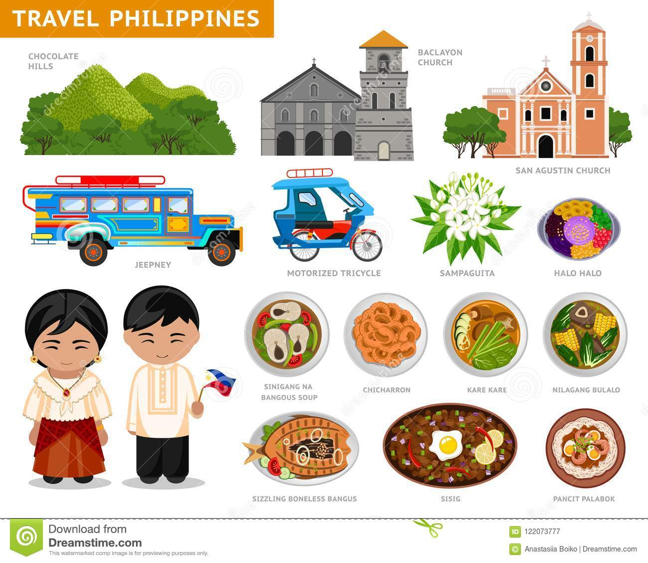 Travel To Philippines Filipinos In National Dress Stock Vector