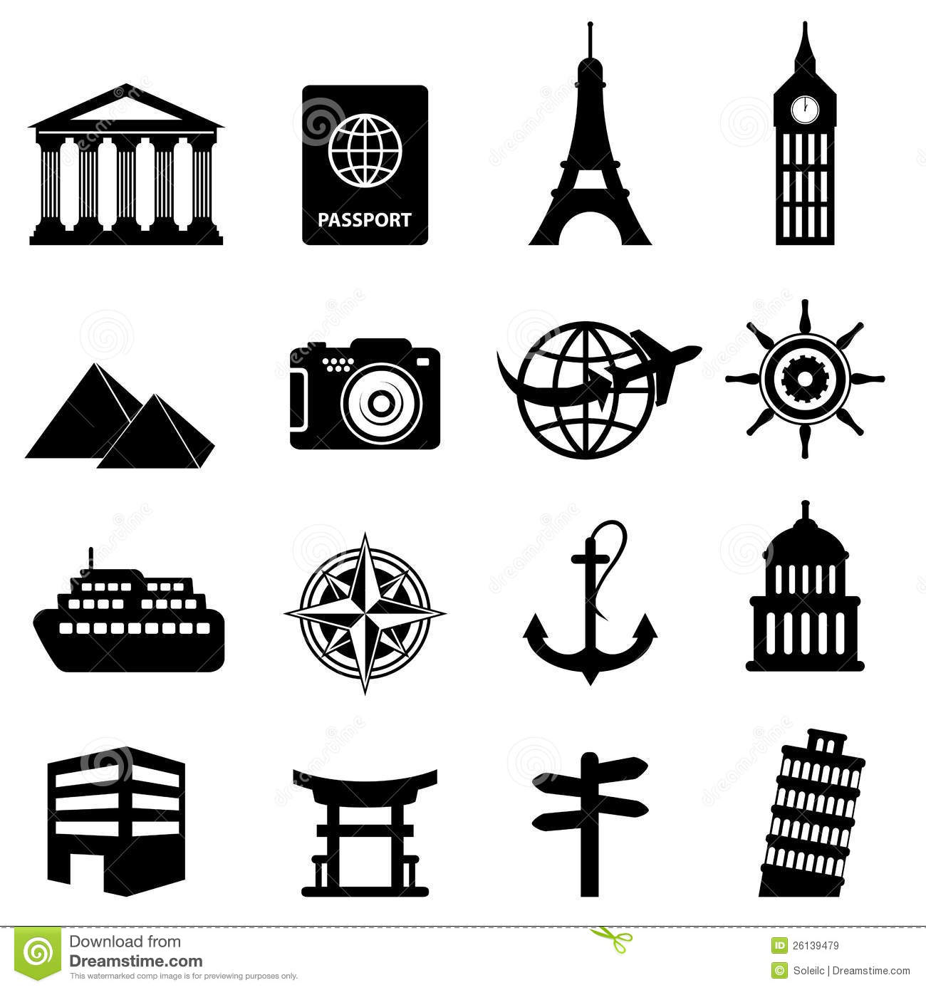 Travel And Tourism Icons Stock Vector Illustration Of