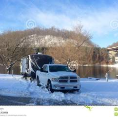 Camping Trailer Usa Au Falcon Radio Wiring Diagram Travel Rv Winter Stock Image Of