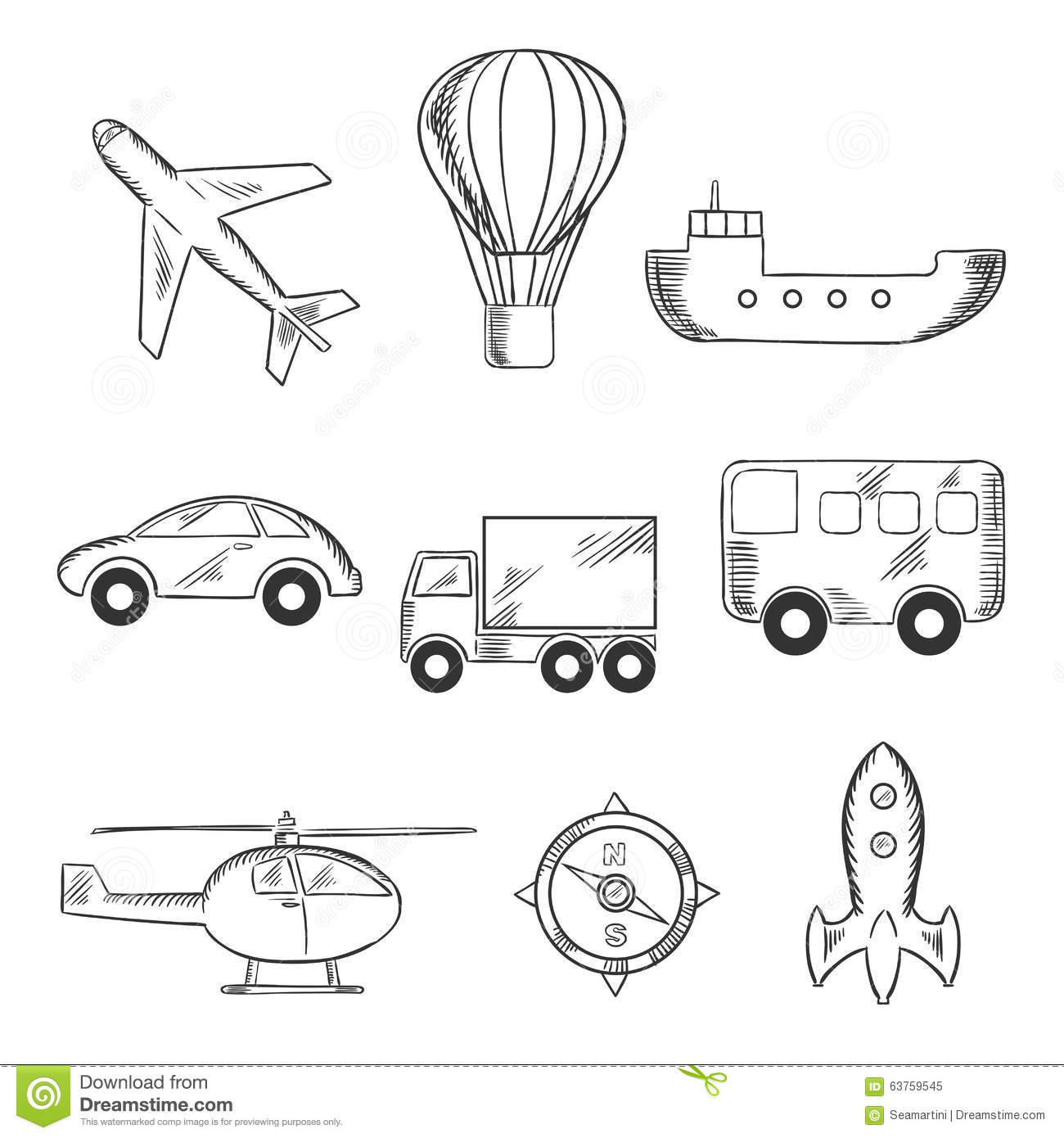 Travel And Transport Sketch Icons Stock Vector