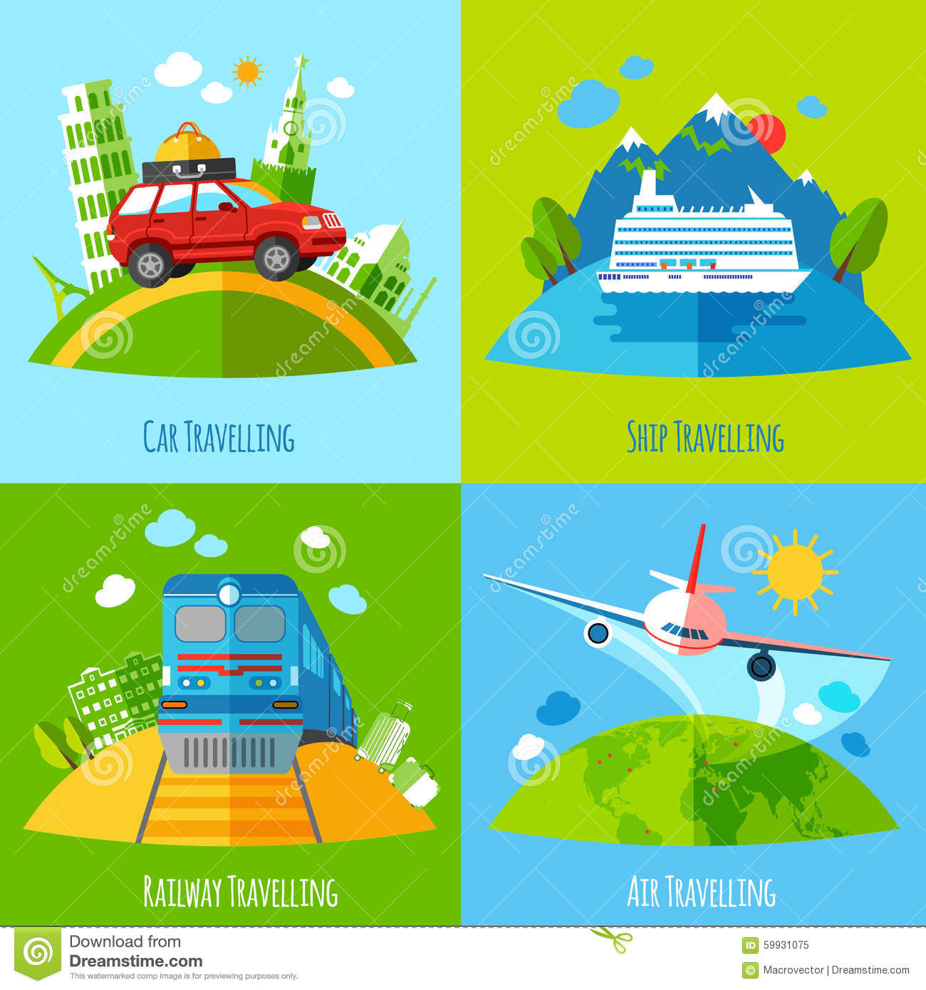 Travel Transportation 4 Flat Icons Square Stock Vector