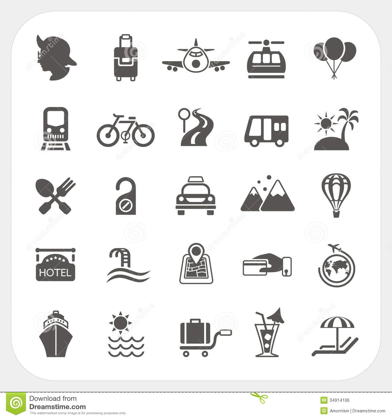 Travel And Transportation Icon Set Royalty Free Stock