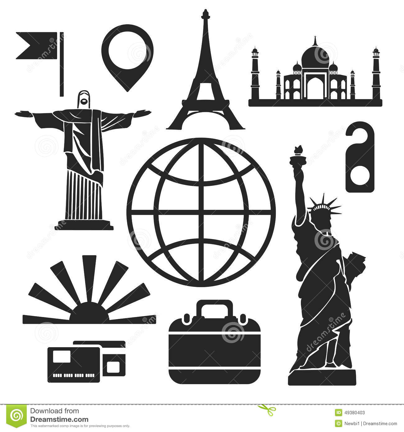 Travel Web And Mobile Icons Vector Stock Vector